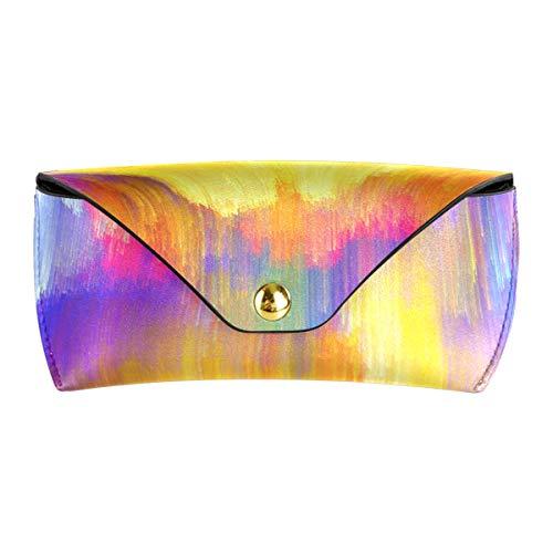 XiangHeFu regenbooglicht gordijn zonnebril geval brillenkoker PU leder multifunctionele brillen tas draagbaar