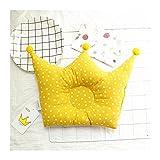 XKMY Almohada de forma de cabeza de bebé, almohada de forma de bebé, evita que los bebés de cabeza plana, corona, lunares, accesorios de decoración de habitación para recién nacidos (color: amarillo)