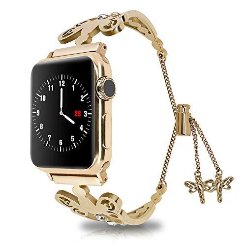 QINJIE Banda Compatible con Apple Watch 1/2/3/4, Pulsera de Metal, Pulsera de Acero Inoxidable, Pulsera para Mujer, Hombre,Rose Gold,38mm