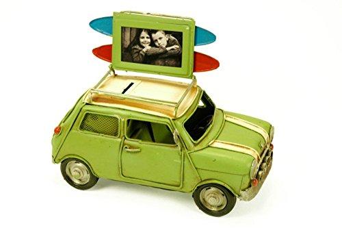 CAPRILO Figura Decorativa de Metal Coche Mini con Portafotos y Hucha. Vehículos. Adornos y Esculturas. Coleccionismo. 23 x 11 x 13 cm.