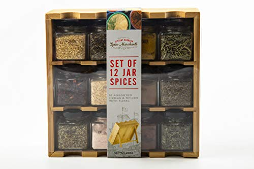 Portaspezie in legno con 12 spezie in barattoli di vetro