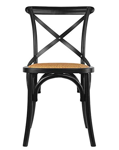2xhome Black Mid Century Modern Farmhouse Antique Cross Back Chair With X Back Assembled Solid Real Wooden Frame Antique Style Dining Chair Side Armless For Accent Chairs Woven Kitchen Task Work Desk
