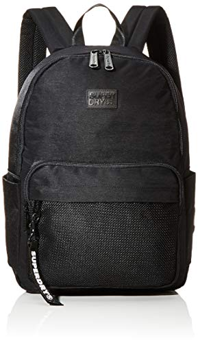 Superdry Damen Mesh Pocket Backpack Rucksack, Schwarz (Black), 35x20x45 cm