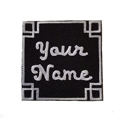Emporium Embroidery Personalisierbarer quadratischer bestickter Aufnäher zum Aufbügeln und Aufnähen, personalisierbar, für Biker-Jacke, Club, Uniform, Etiketten, Jeans auf Kordsamt [XL,Farbe]