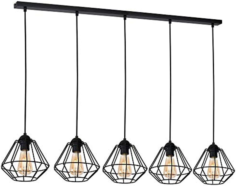 Schwarze Hngeleuchte lang 110cm Modern Design verstellbar Drahtgestell XXL Esstisch Hngelampe