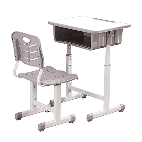 ShowMaven Student Desk and Chair Combo, Height Adjustable Children's Desk and Chair Workstation with...