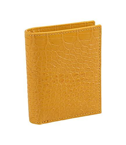 SIX Cartera de piel sintética con diseño de serpiente, estampado animal, color amarillo mostaza, cierre de botón a presión (703-804)