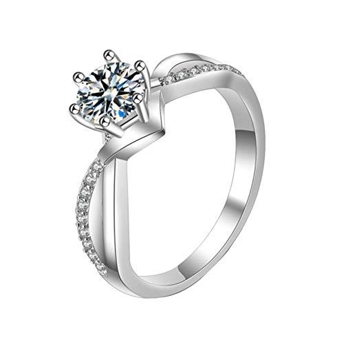 minjiSF Anillo de diamante para mujer, no se decolora, anillo único, exquisito, joya de boda, anillo de compromiso, anillo de recuerdo, (Sliber6, 6)