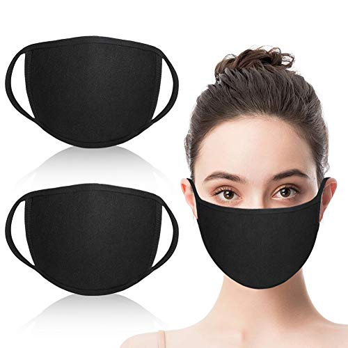 face mask for women Simliber 2 Pack Women Fashion Mouth Mask Washable Reusable Cloth Masks Warm Ski Cycling Safety Face Mouth Mask,Black Cotton Face Mask for Cycling Camping Travel