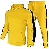 LeerKing Chándal Hombre Completo Jogging Casual Ropa Deportiva de Algodón y Forro Polar Fino Modo Cálido Grueso 2 Piezas Amarillo-Espeso M