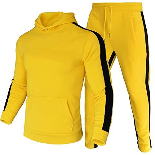 LeerKing Uomo Addensare Tute Complete Pantaloni da Jogging Tute Felpa con Cappuccio in Pile...