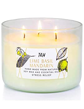 3 Wick Candle Gifts for Women | Lime Basil Mandarin Scented Candles Long Lasting 16 Oz Glass Candle for Home Decor Living Room | Stress Relief Candles for Women Luxury Candle Decor