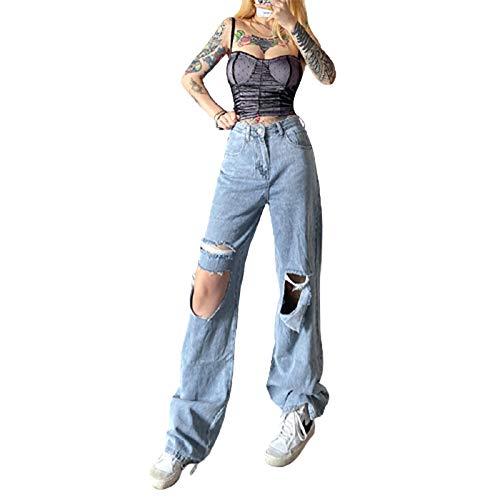 Chollius Pantaloni Jeans Donna Lunghi Alta Vita Strappati Jeans Vintage Larghi da Ragazza Jeans Elasticizzati per Donna Ragazza Primaverile (Blu, M)