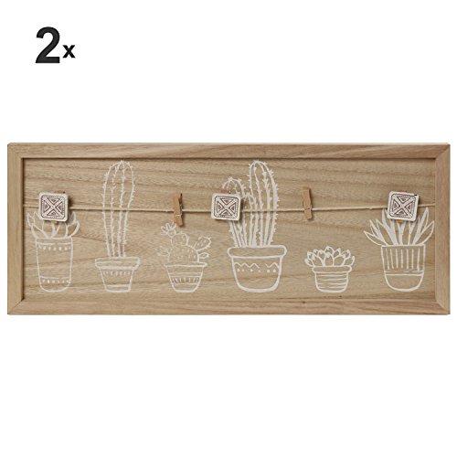 DONREGALOWEB set met 2 afbeeldingen, droogmolen van MDF met knijpers versierd met planten in houtkleur