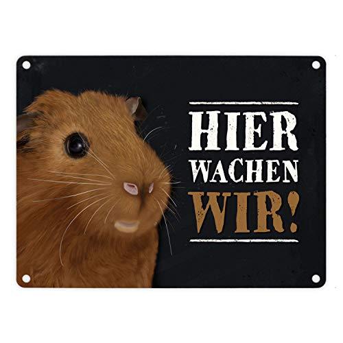 trendaffe - Metallschild mit Meerschweinchen Motiv und Spruch: Hier wachen wir!