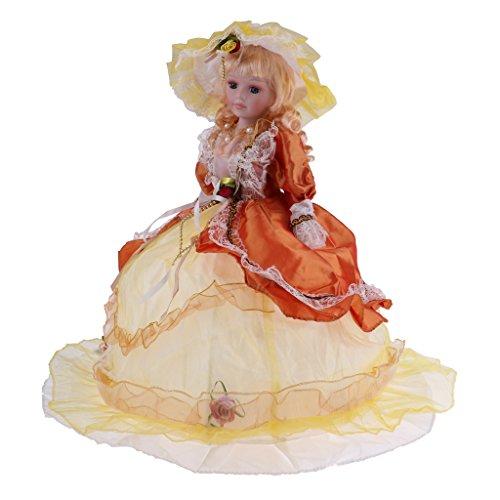 SM SunniMix Bambola da 18 Pollici in Porcellana per Donna E Giuntura in Stoffa con Espositore Elasticizzato - Vestito Giallo