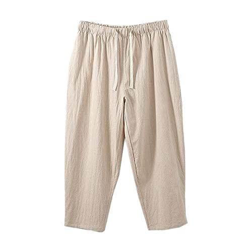 N\P Pantalones de verano de los hombres de gran tamaño delgado delgado elástico cintura pantalones casuales
