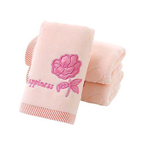 Fleur brodée Serviette éponge coton à séchage rapide doux visage Serviettes, 76 cm x 34 cm