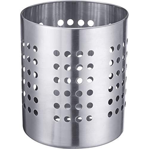 Westmark Besteckkorb/Küchenutensilienhalter, rund, Durchmesser: 12 cm, Höhe: 13,5 cm, Rostfreier Edelstahl, Silber, 69022211