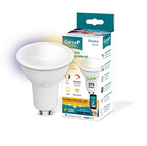 Garza Smarthome-Bombilla LED WiFi CCT 5.5w GU10 Inteligente y programable, Cambio de Intensidad y Tonalidad, Control por Voz y App, Alexa, iOS, Google, Android, 5 W, Blanco