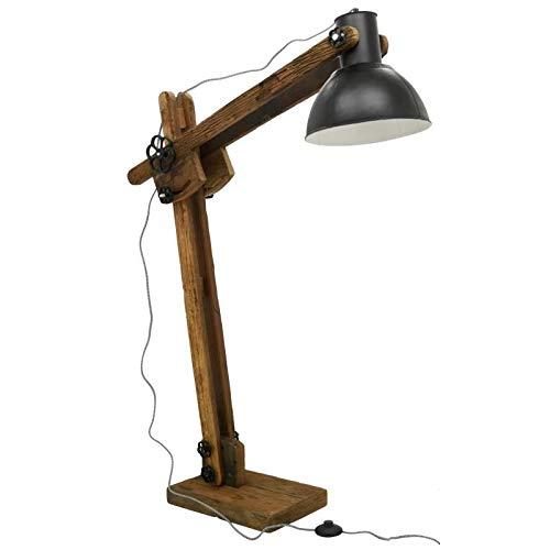 AubryGaspard - Lámpara de pie (madera reciclada y metal tintado, 142 cm)
