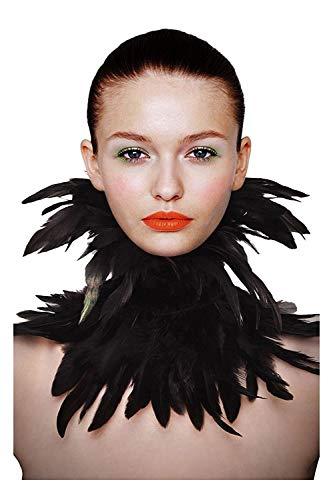 L VOW - Collar gótico natural con plumas y alas de cuello, decoración de Halloween, carnaval, color negro