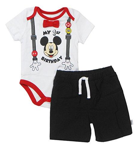 Disney Baby Boys' Mickey Mouse First Birthday Short Set, Multi, 18-24 Months