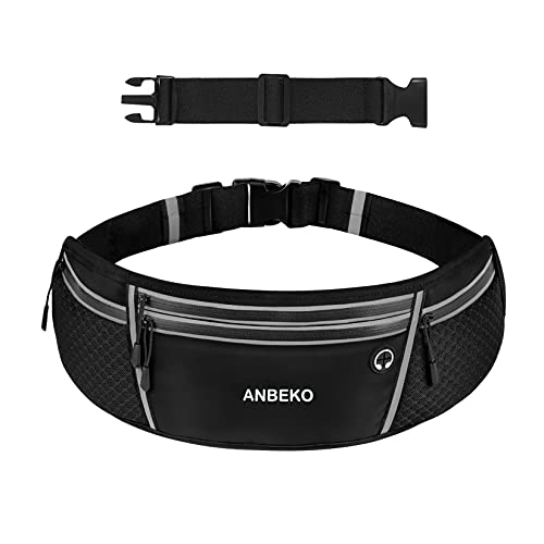 ANBEKO Universal Running belt with Extender, Large Capacity Runner Waist Pack with 4 Pockets,Hiking Travel Camp Running Workout Belt Bag,Reflective No Bounce Waist Bag,Easy Carry any Large Phones
