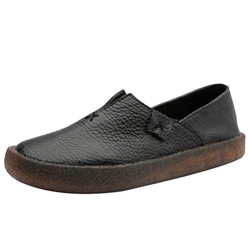 Vogstyle Damen Retro Leder Atmungsaktiv Flach Weich Schuhe Schwarz EU 41/42=Asian 42