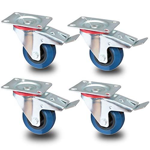 PRIOstahl® Transportrollen Lenkrolle mit Bremse blau | 80mm| blue wheels | Lenkrolle mit Bremse (4 Rollen)