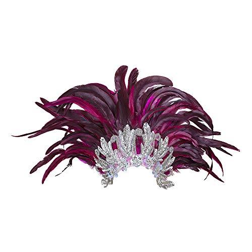 Widmann 11798 Kopfbedeckung Rio Show mit Federn, Damen, Violett/Silber, One Size
