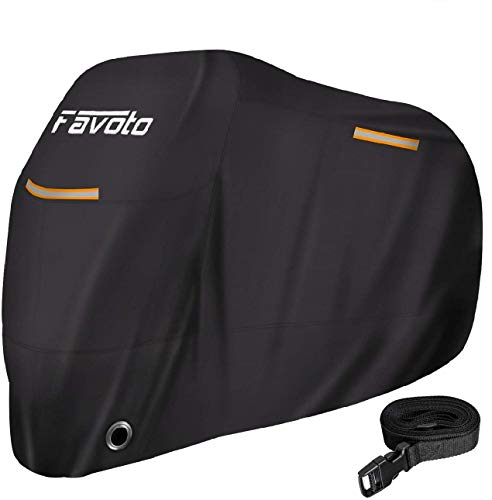Favoto バイクカバー 紫外線防止 防風 防埃 防水 防雪 UVカット 丈夫 厚手 耐熱 盗難防止 収納袋付き 防風ベルト付き オートバイカバー 全長225cm以内のバイクに適用