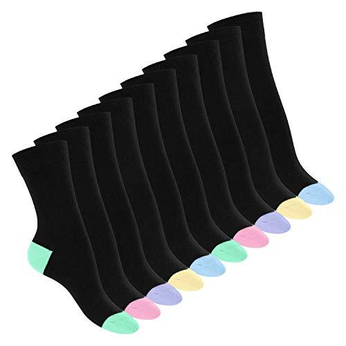 Footstar 10 Paar Baumwoll-Socken - abgesetzte Ferse und Spitze - Pastell Mix 39-42