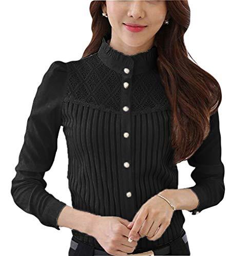 Smile Fish Women Hollow Out Back Zipper Lace Long Sleeve Elegant Blouse
