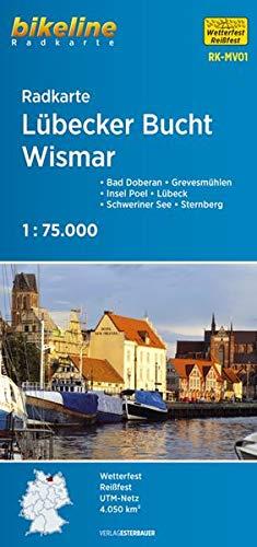 Radkarte Lübecker Bucht, Wismar (RK-MV01): Bad Doberan – Grevesmühlen – Insel Poel – Lübeck – Schweriner See – Sternberg, 1:75.000, wetterfest/reißfest, GPS-tauglich mit UTM-Netz (Bikeline Radkarte)