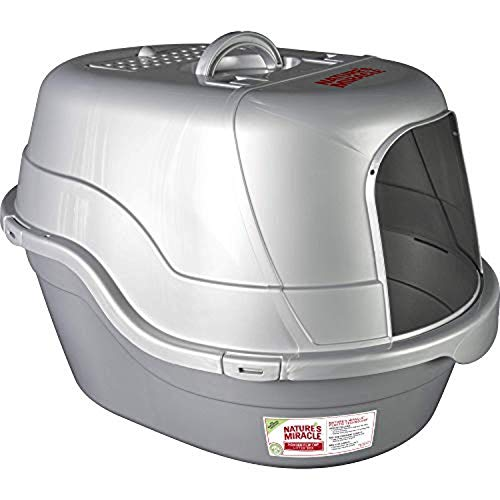 Nature's Miracle P-96952 Hooded Flip Top Litter Box, Oval, With Odor Control,Silver/Grey
