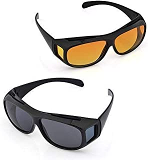 WAQIF Day & Night Unisex HD Vision Goggles Sunglasses Men/Women Driving Glasses Sun Glasses (Yellow-Black) Combo Pack Set ...