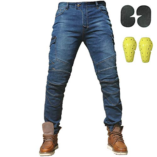 Sportliche Motorrad Hose Mit Protektoren Motorradhose mit Oberschenkeltaschen Blau (L- (Waist 34.5