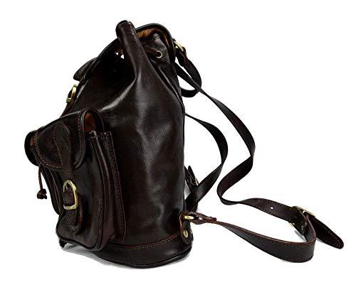 41DH8WQQumL - Mochila de piel marron oscuro mochila piel mochila hombre mujer mochila de viaje mochila de cuero mochila sport bolso de espalda piel