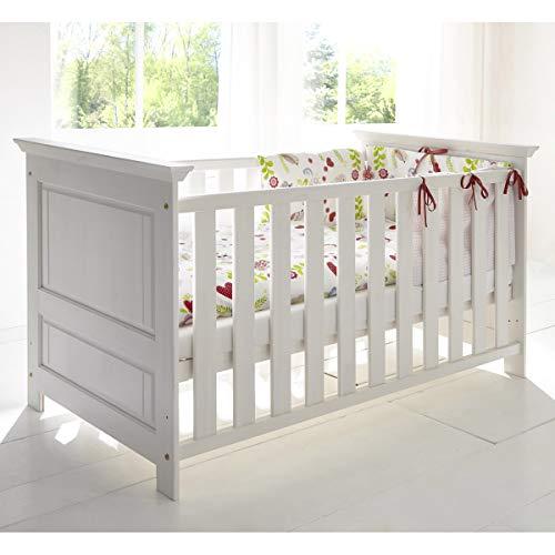 Babybett Bett Gitterbett Odette Schlupfsprossen Babyzimmer Kiefer weiß massiv