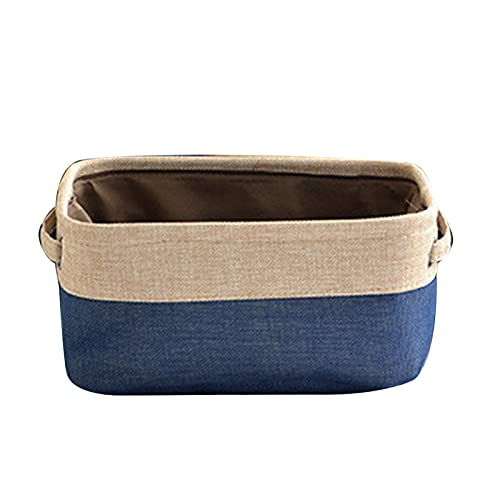 Yosemite Soporte de almacenamiento con asas duales ecológicas de gran capacidad de tela de almacenamiento de juguetes organizador plegable y ligero cubo cestas para el hogar azul oscuro XL