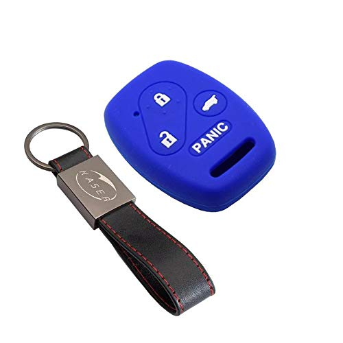 kaser Funda Silicona para Llave Honda – Carcasa Llaveros 3 Botones para Coche Accord CR-V Odyssey City S2000 Jazz Cover Case Protección Remoto Mando Auto (Azul)