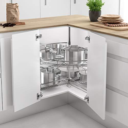 Kit de 2 bandejas giratorias 270º de Rejilla para Mueble de Cocina esquinero, Diámetro 700mm / Alto 630-730mm
