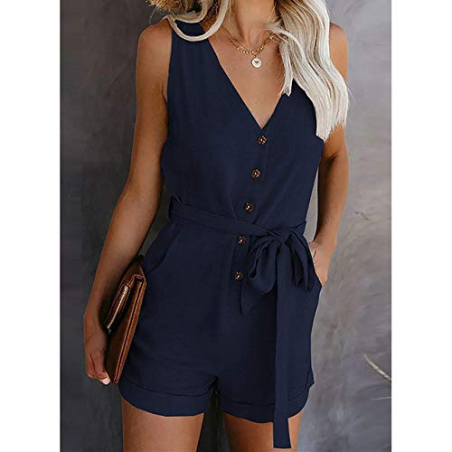 YFDYG Short Femme,Navy Blue V-Neck Jumpsuit Summer Ladies Indoor Lace Up Tassel Pants Casual Beach Drawstring Top &Amp; Solid Color Trousers Girl Running Gym Shorts,M