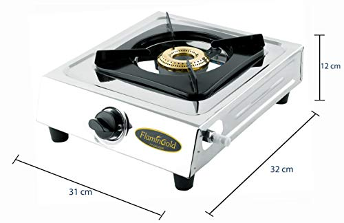 FLAMINGOLD Manual Stainless Steel Single Burner Gas Stove 1 Cooktop LPG Chulha 24 (Silver)