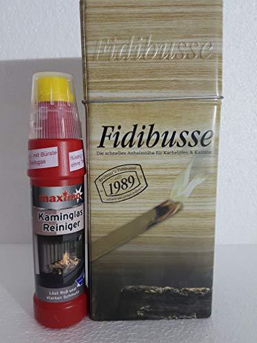 Fidibusse Brunner Geschenkdose 50 Stück Ofenanzünder Grillanzünder Anzünder + Kaminglas Reiniger Gel mit Bürste, 1 Flasche á 200ml
