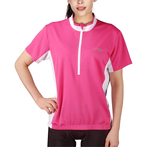 bpbtti Womens Cycling Bike Jersey Short Sleeve with 3 Real Pockets-Mositure Wicking,Breathable, Quick Dry Biking Shirt