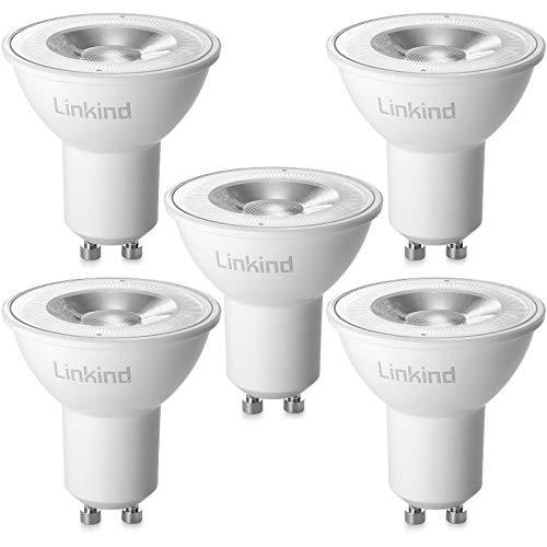 Linkind LED GU10 Lampe 4.2W, 50W Halogenlampe ersetzt, 420lm 2700K Warmweiß Glühbirne mit 36° Abstrahlwinkel Spotlight, AC 220-240V MR16 LED Birne, 5er Pack