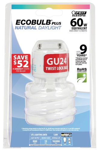 Feit BPESL13T/GU24/D 13-watt Mini Twist Daylight GU24 Base 60-watt Equivalent Light