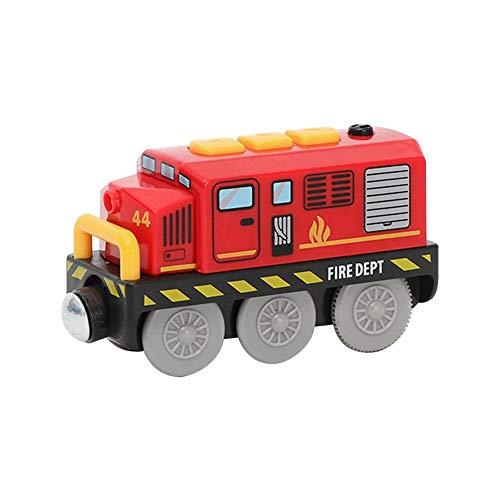 aheadad - Juguete de locomotora para caminos de hierro magnético conectado, pequeño juguete de riel magnético de tren eléctrico compatible con la pista de madera presente para niñas de niños